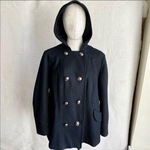 Vintage 90s M/L Wool Pea Coat Short Hood Black